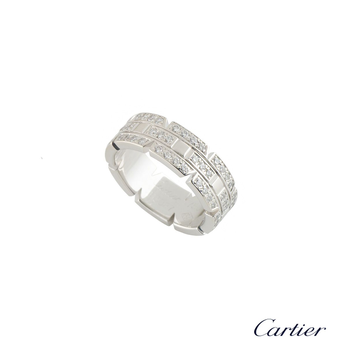 Cartier White Gold Diamond Tank Francaise Ring Size 49